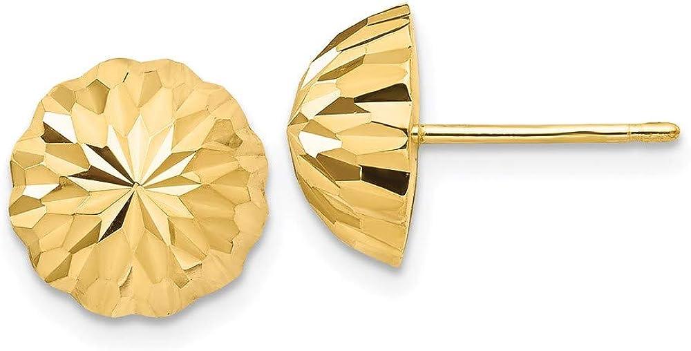14k Gold Diamond-cut 10mm Domed Post Earrings 9.5mm 9.5mm style YE1695