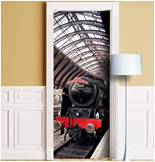 Wizard Express Train Door Mural. ONE Piece Sticky Mural, Decal, Skin, Wrap, Cover, Poster for Door, Wall or Fridge. Railwa...