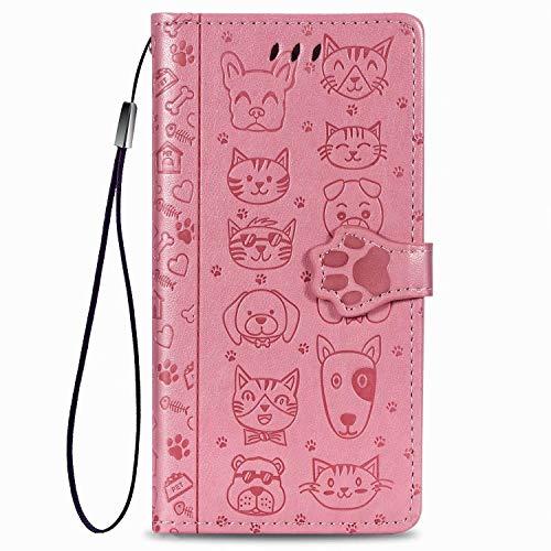 Funda para Xiaomi Redmi 10 Funda Gato Perro Premium Piel PU Flip Case Magnética Ranuras Tarjetas Flip Wallet Funda Funda Case Cover Case para Xiaomi Redmi 10 Funda Rosa