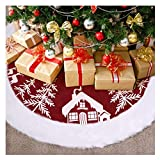 VOSAREA Red Christmas Tree Skirt with Luxury Faux Fur Edge, Rustic Burlap Christmas Tree Skirt Snowman Elk Xmas Tree Skirt for Christmas Tree Decorations, 48Inches