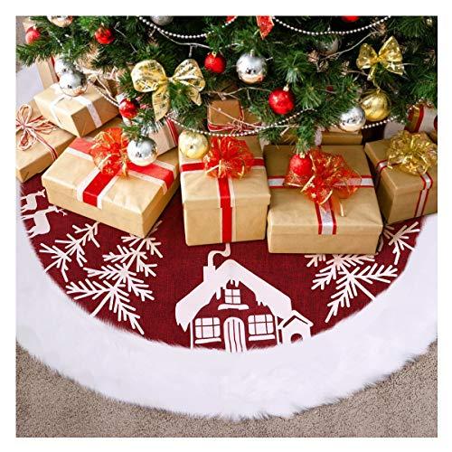 VOSAREA Weihnachtsbaum Rock Weihnachtsbaumdecke Rund Weihnachtsbaum Decke Groß Fell Christbaumdecke Christbaumständer Teppich Baumdecke Weihnachtsbaum Deko,48 Zoll, Rot