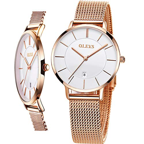 Thin Stainless Steel Female Watch,Womens Watches Rose Gold and White,Water Resistant Wrist Watch with Date,Ladies Dress Watch for Women,Fashion Simple Quartz Waterproof Slim Watch,relojes de Mujer