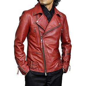 (ハルフ) Haruf レザージャケット メンズ 本革 ライダースジャケット 大きいサイズ 赤 レッド M TQPUK1REDREDM
