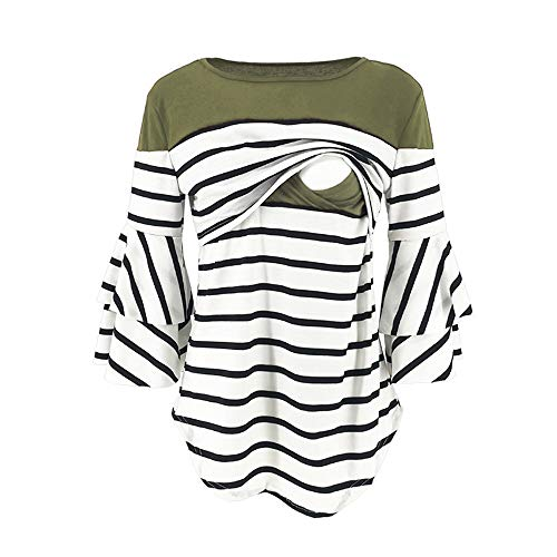 Women's Maternity Pregnant Stripe Splicing 3/4 Bell Sleeve Scoop Neck Camis Tee Tops Breastfeeding Blouse Pregnancy Shirt (Army Green, M)