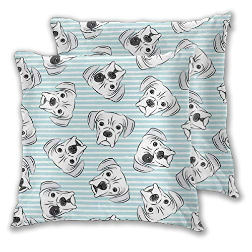 MaJack Kissenbezüge, weich, dekorativ, quadratisch, weiße Boxershorts auf hellblauen Streifen, für Sofa, Schlafzimmer, Auto, 50,8 x 50,8 cm, 2 Stück