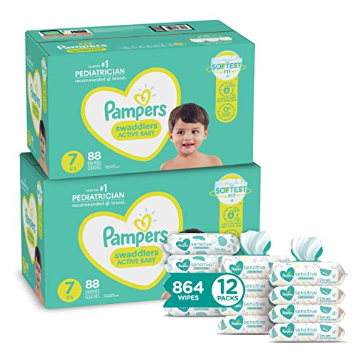 Pampers Baby Diapers and Wipes Starter Kit (2 Month Supply) - Swaddlers Disposable Baby Diapers Size 7 (2 x 88 Count) with Sensitive Water Based Baby Wipes, 12X Pop-Top Packs, 864 Count