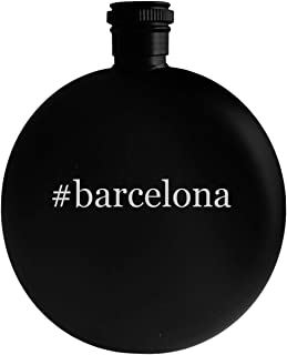 #barcelona - 5oz Hashtag Round Alcohol Drinking Flask, Black