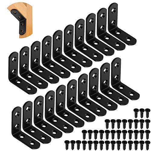 Winkelverbinder,Brackets with Screws,L Corner Bracket,20PCS Edelstahl winkel,90 degree angle brackets,Holz winkel,Edelstahl winkel gebürstet,L-shaped 90,Corner Support,Winkel wandhalterung(schwarz)