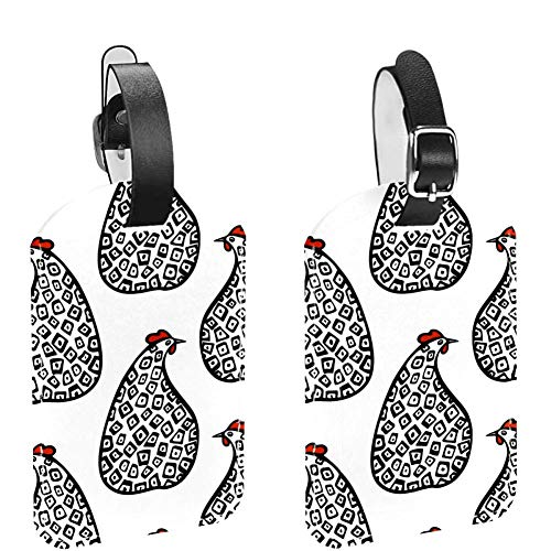 Sitting Speckled Hens Farm Animal Luggage ID Tags PU Leather Baggage Labels Holder Suitcases Label