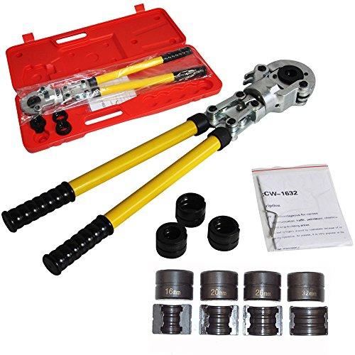 Hansemay Presszange TH Kontur Rohrpresszange mit 16 mm-20 mm-26 mm-32 mm Pressbacken für PEX Rohr, Verbundrohr (TH-Kontur)