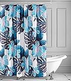 saewelo Textil Duschvorhang | Anti-schimmel, Antibakteriell, Wasserabweisend | inkl. 12 Metallhaken (Blau, Grün, Schwarz, Weiß, Tropische Blüten, Blätter 180x200 cm)