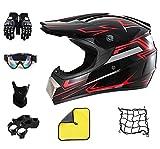 Caschi Moto Rosso e Nero,Casco da Motocross,Casco Enduro per Uomo,Fronte Pieno MTB del Casco,per Quad Bike ATV Go-kart Moto da Cross Sport. (L(59-60 cm))