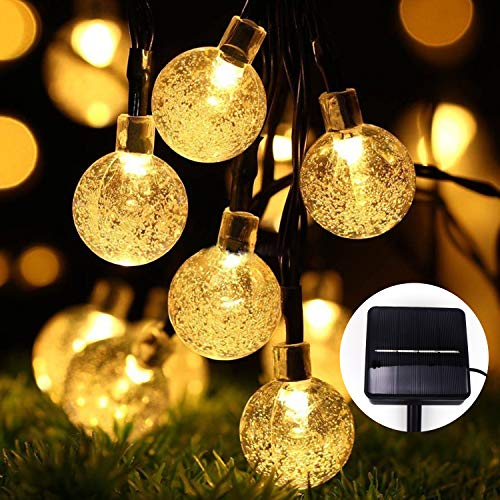 Solar Lights Outdoor Garden, 60 LED 36 Ft/11m Solar Garden Lights Outdoor Fairy Lights 8 Modes Waterproof Large Crystal Ball String Lights for Garden Yard Home Tree Wedding BBQ Parties(Warm White)