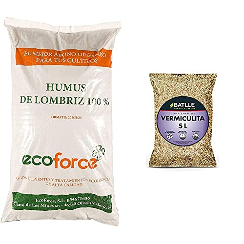 CULTIVERS Humus De Lombriz Ecológico 20 Kg (40 L). Abono para Plantas...