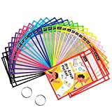 SUNEE 30 Packs Oversized Reusable Dry Erase Pocket Sleeves with 2 Rings, 10 Assorted Colors 10x14 Ticket Holders, Clear Plastic Sheet Protectors, Teacher School Classroom Supplies