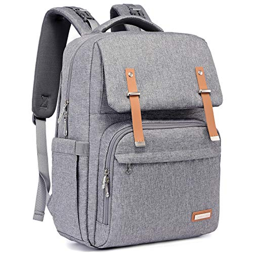 Changing Bag Backpack, RUVALINO Large Baby Bags Multi-Function Waterproof Nappy Back Pack for Mom and Dad with Changing Mat, Stroller Straps (Grey)