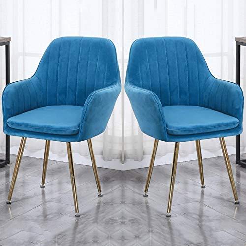 zyy Sillas de cocina tapizadas sillas de comedor, 2 piezas, sillón de cocina, asiento de terciopelo, patas de metal dorado, sillas de recepción con respaldo cojín suave (color azul oscuro)