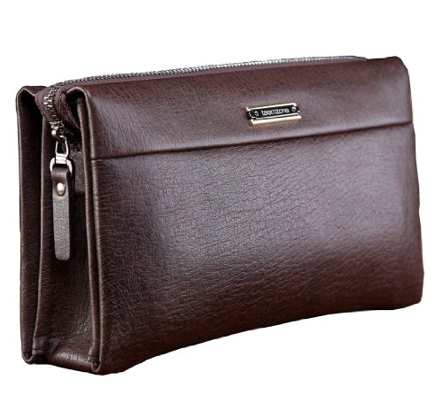 Teemzone Man Clutch Bag Genuine Leather Wristlet Wallet Hand Bag Business Clutch Purse Bag RFID Blocking Checkbook Organizer Long Wallet Credit Cards Case With Strap and Zipper