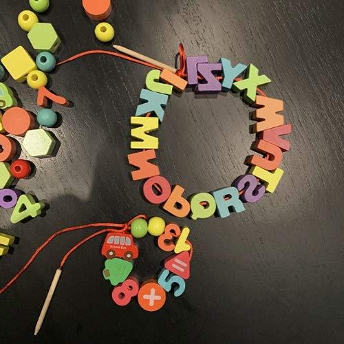Lihgfw Perlenspielzeug für Säuglinge und Kinder Frühere Kindheit Bildung Digital Brain Building Blöcke Baby Eltern-Kind Tragen Seil um Perlen Number Buchstaben Perlen (Color : Rot)