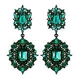 Flyonce Women's Rhinestone Crystal Art Deco Vintage Style Gatsby Clip-on Dangle Chandelier Earrings Green