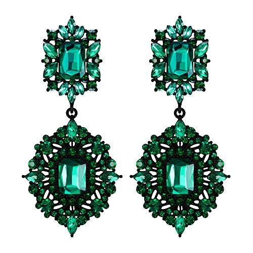 EVER FAITH Orecchini Clip-on Orecchini Art Deco Vintage Stile Gatsby Lampadario pendente orecchini per donne Ragazze Verde