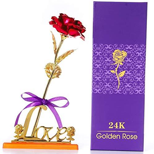 Hoja de Oro 24K Rosa, Flores Artificiales de Rose con Soporte de exhibición en Caja de Regalo, día de San Valentín, día de la Madre, Aniversario, cumpleaños, Boda, Navidad