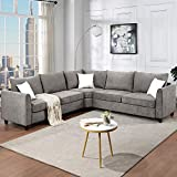 MAFOROB Modern Fabric Sectional Couch Living Room 6-Pcs, L-Shaped Corner Sofa with 3 Pillows, 100 inch, Grey