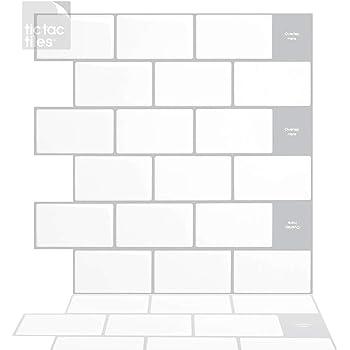 Amazon Com Tic Tac Tiles 12 X 12 Peel And Stick Self Adhesive Removable Stick On Kitchen Backsplash Bathroom 3d Wall Sticker Wallpaper Tiles In Subway Designs 10 Mono White Home Improvement