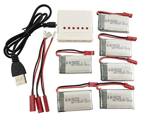 F-Mingnian-rsg Batteria per Drone Batteria per Elicottero 6PCS 3.7V 750mah e Caricatore Durevole 6-in-1 per Batteria per aeromobili a Quattro Assi MJX X400 X800 X300C X500