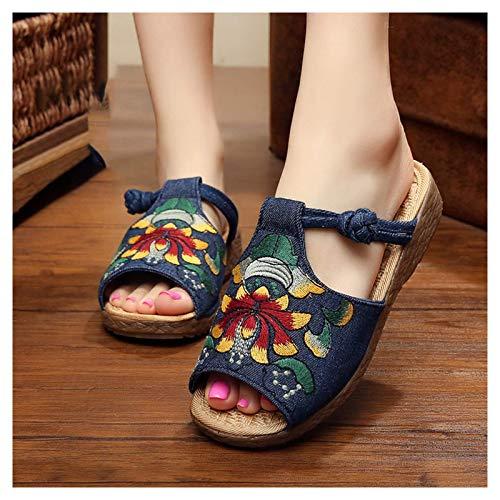 WXDP Pantuflas Calientes,Zapatillas Zapatillas para Mujer Punta Abierta, Zapatillas Mujer Chino Antiguo Pekín Estilo Étnico Bordado Flores Zapatillas, Zapatillas para Mujer con Soporte De Arco Sa