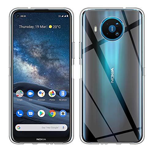 Aerku Hülle für Nokia 8.3 5G, R&umschutz [Kratzfest] [Anti-Fall] [Stoßdämpfung] Ultra-dünne TPU Silikon Gel-Abdeckung Transparent Hülle Handyhülle für Nokia 8.3 5G[Transparent]
