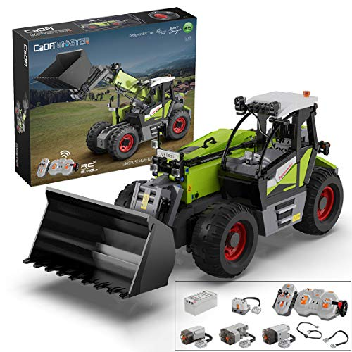 Goshfun CADA Multi-Function 1:17 Simulation 2.4G Electric RC Telescopic Loader Vehicle Model Bricks Set, MOC DIY Small Particle Building Block Construction Toy Compatible with Lego (1,469 Pieces)