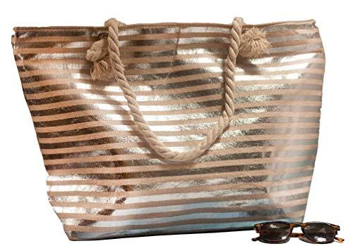 Bolsa de Playa Grande XXL con Cremallera de Rayas para Mujer, Bolsa Playa Verano, Bolso Grande con Asa de Cuerda para Playa, Fiesta, Compras, Viajes, Diseño a Rallas, 55 x 35 cm