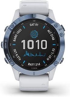 Garmin fēnix 6 Pro Solar, 47mm Titanio Blu Minerale con Cinturino Bianco Pietra - GPS Smartwatch con Ricarica Solare, Disp...