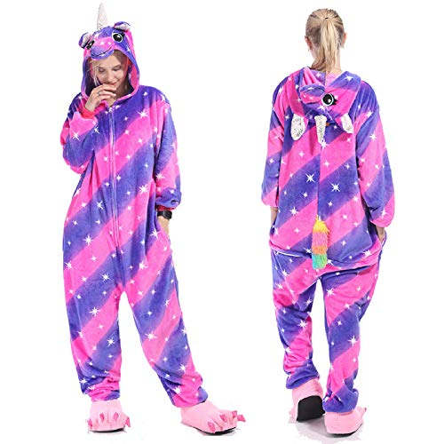 Einteilige Pyjamas der Flanellherbst- und -wintermänner und -Frauen bunten einhornpaartierkarikatur des sternenklaren Himmels Pferde