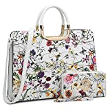 Women's Fashion Handbag Shoulder Bag Hinged Top Handle Tote Satchel Purse Work Bag with Matching Wallet (1-white Floral Wallet Set)