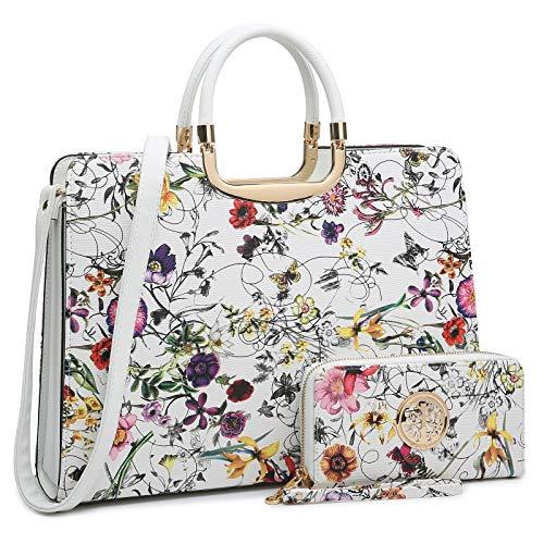 Women's Fashion Handbag Shoulder Bag Hinged Top Handle Tote Satchel Purse Work Bag with Matching Wallet (1-white Floral Wallet Set)