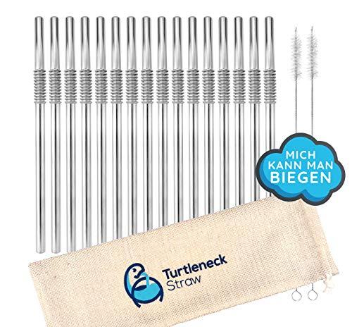 Turtleneck Straw - Biegsame Strohhalme, Trinkhalme aus Edelstahl, 16 Metall Halme mit 2 Reinigungsbürsten im Set, wiederverwendbar, umweltfreundlich & spülmaschinenfest