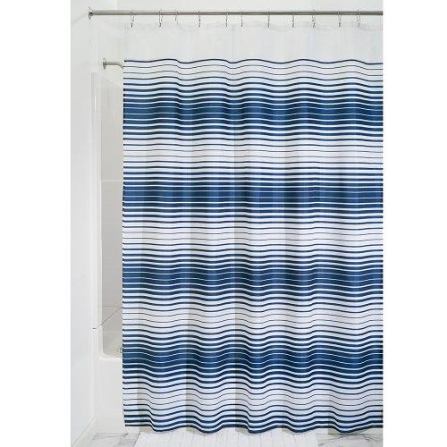 iDesign Enzo Duschvorhang Textil | leicht zu pflegener Duschvorhang aus Stoff mit verstärkten Löchern | Badewannenvorhang im Streifen-Design | Polyester navyblau/weiß