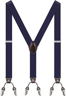 1 anno di garanzia TB1 Uomo Bretelle Resistente resistente 35MM Bretelle per uomo 4 Clip X-Back regolabile elastica Mens Bretelle con clip in metallo resistente