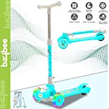 Baybee Skate Scooter for Kids Toddlers 3 LED Wheels Lightweight-Folding Kick Kids Scooty Scooter Tricycle for Indoor & Outdoor Fun with Brake Cycle for Kids with Adjustable Height Age 3-8 (Green)