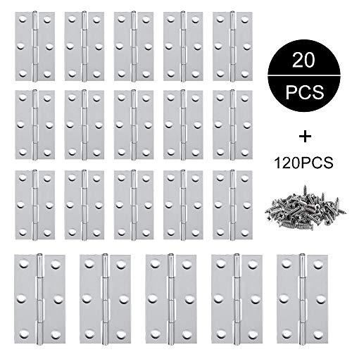 Edelstahl Tür-Scharnier, Jooheli 20 Stück Scharnier Edelstahl, 2 Zoll /3 Zoll Edelstahl Scharniere Steckverbinder,Scharniere für Fenster Schrank,Hardware Schrank Scharniere mit 120 Stück Schrauben