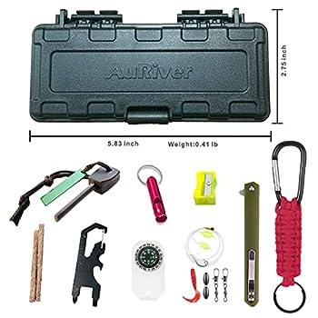 Kit de Survie d'urgence Multi-Outils 10 en 1 avec Couteau de Survie,Outil Multifonction EDC,Allume Feu,Boussole,Paracord Porte-Clé,Camping,Randonnée