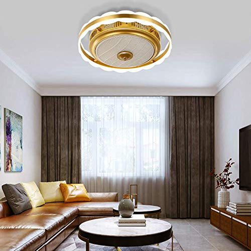 Ceiling Fan with Light, 19.7'' LED Remote Control Enclosed Low Profile Fan, Three-Color Lighting 3 Speeds Changing, Invisible Acrylic Blades Flush Mount Ceiling Light,Gold