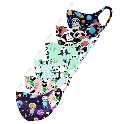 Jasinto Mundschutz für Kinder Junge Mädchen, Anti-Staub Bandana Halstuch Nasenschutz Multifunktionstuch, Waschbar Nasen und Mund Schutz, Weihnachten Panda Bambus Planet Drucken, 6er Pack