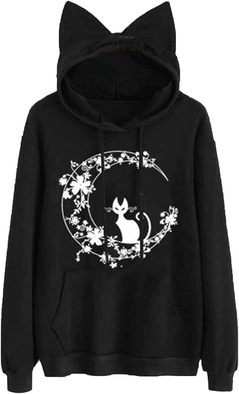 Women Teen Girls Hoodie Sweatshirt Cute Cat Ear Sleeping Cat Printed Long Sleeve Drawstring Pullover Sweatshirt