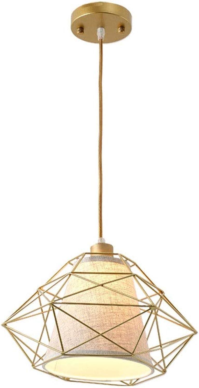 CUIRUILIAN Vintage geometrische Schmiedeeisen Pendelleuchte, E27 einzelne schwarz Gold Deckenleuchte, einfache dekorative Beleuchtung für Esszimmer Schlafzimmer Kronleuchter [Energieklasse A ++++]