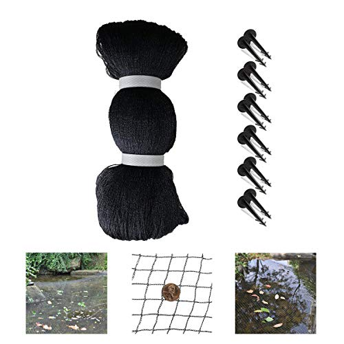 SUREH 4 x 6 m Teichschutznetz-Set für Garten, Fischteich, Pool, Abdecknetz mit feinem Netz, Anti-Vogel-Schmutz, Blätter, Reiher-Schutzpfähle im Lieferumfang enthalten
