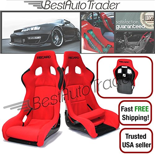 For Ford Mustang SN95 Pair of PVC Leather Racing Seats +Seat Bracket+4-Point Black Belt Carbon Fiber Look