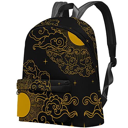 LAZEN Mochila clásica escolar Mochila de viaje ligera Mochila para portátil para mujeres Hombres Sun Moon Clouds